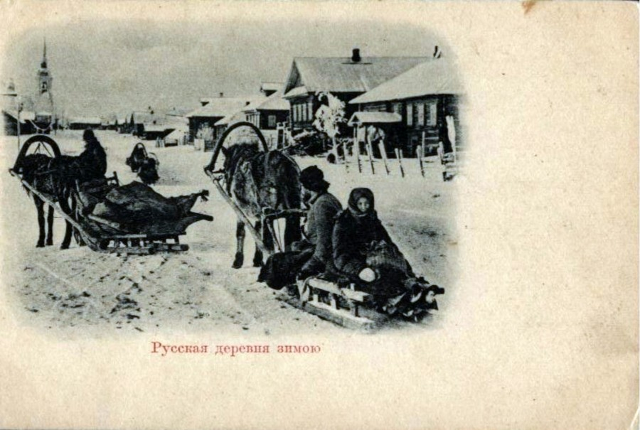 Русская деревня зимою