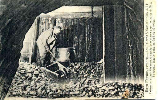 Виды Нерчин. каторги №11. Работы в шахте Савинского. серебросвинцоваго рудн. на глубине 30 с