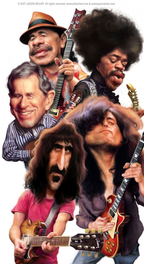 Карикатуры и шаржи рок музыкантов.
