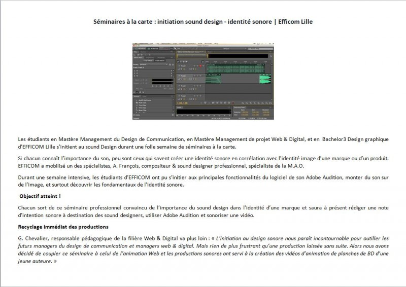 Initiation sound design - identité sonore