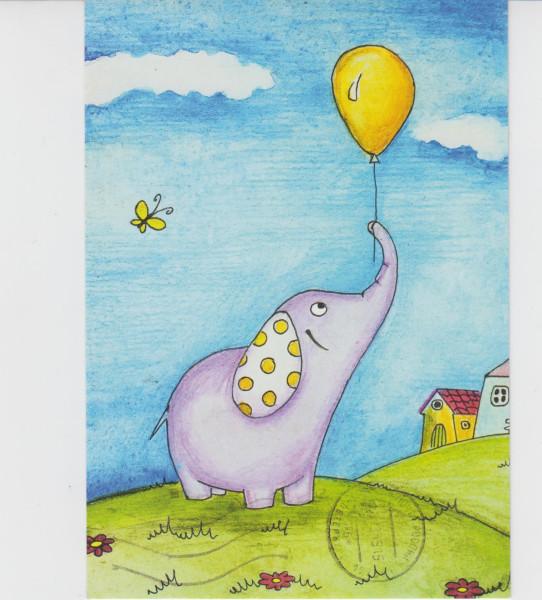 Открытки винтаж, смешные слоники рисунки