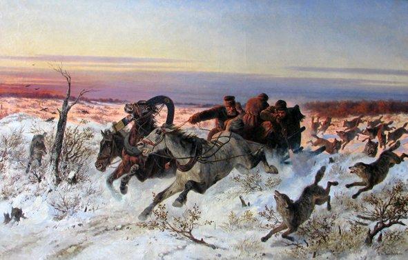Сверчков Охота на стаю волков с саней. 1860