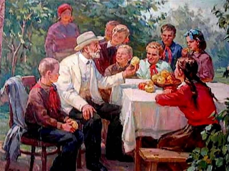 Костенко. И. Мичурин с детьми. 1964
