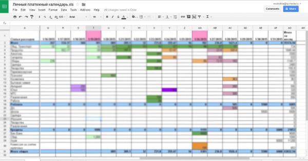 Личный платежный календарь