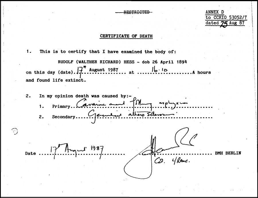 Документы о смерти Рудольфа Гесса