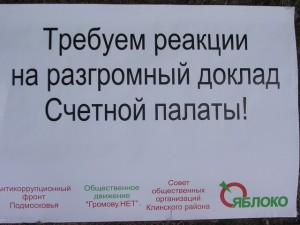"""Плакат активистов г.Клин Московской области: \\""""Требуем реакции на разгромный доклад Счетной палаты!\\"""""""