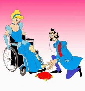 Disabled-Disney-Princess-Cinderella-prosthesis-shoes-Disabled-Disability-Equal-Rights-Wellchair-Health-Art-Campaign-ADV-Cartoon-Painting-Portrait-Ill…