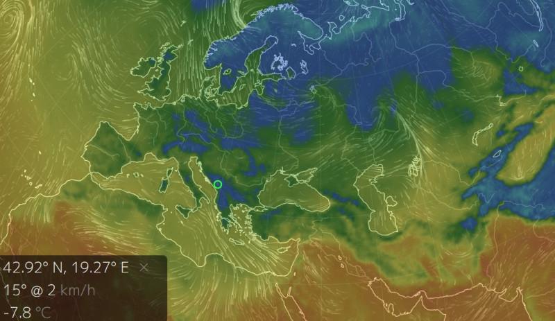 В Черногории -8°C мороза