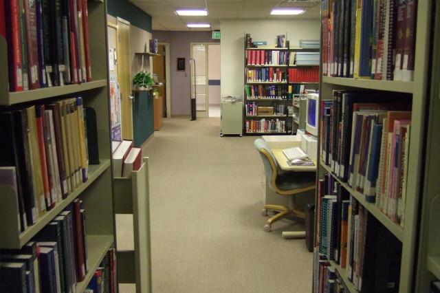 Library as seen through the book stacks
