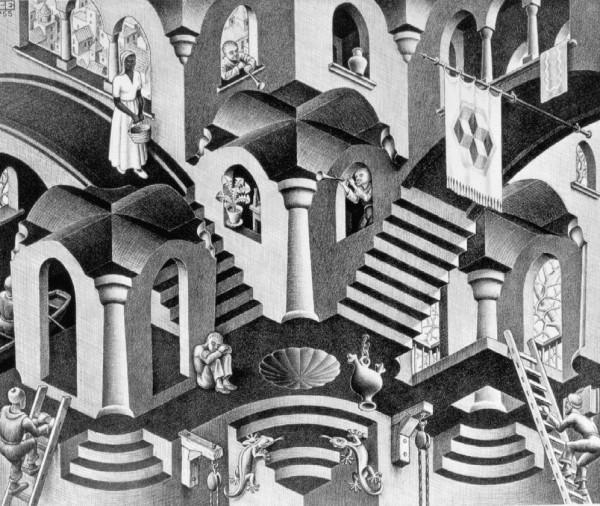Escher.Convex and Concave 1955 Lithograph
