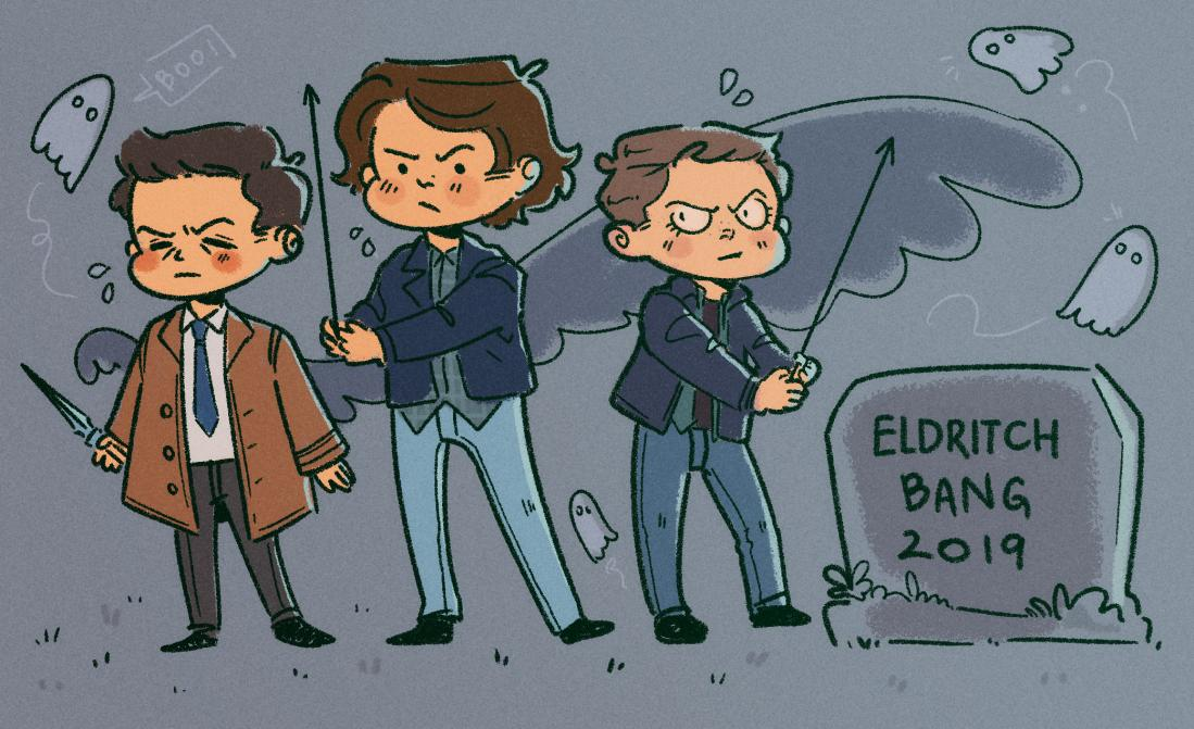 comic-drawn Cas, Sam, and Dean of Supernatural stand in a spooky graveyard wielding fence-spikes