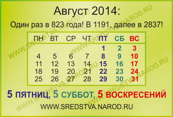 август 2014, 5 пятниц, семь пятниц на неделе, сколько дней в году, интересные даты, пять суббот, sredstva, номерология, по феншую, пять воскресений, выдающиеся месяцы, интересные даты, любопытные даты