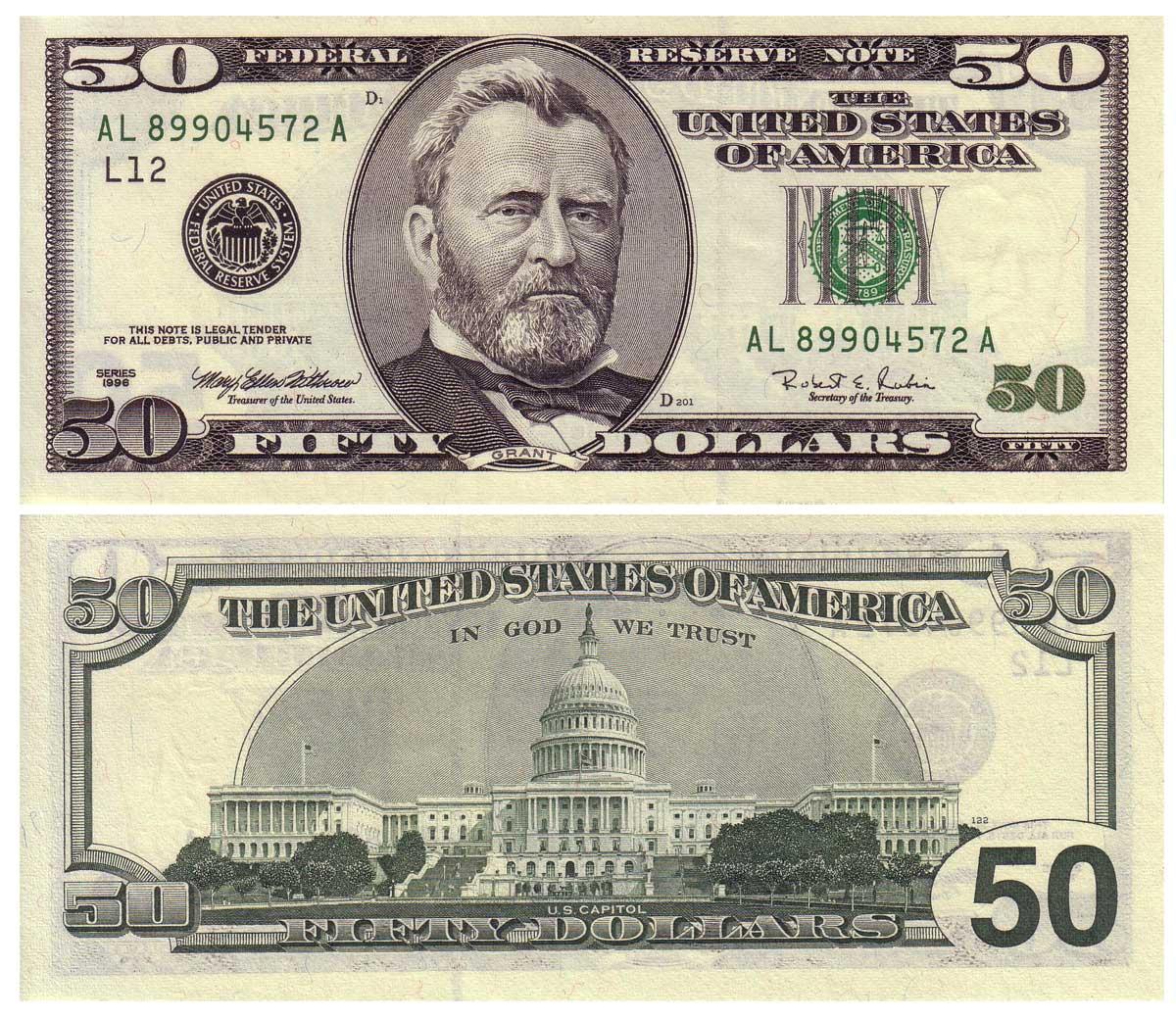 50 dollar bill back actual size - Siteze