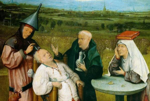 Иероним Босх. Извлечение камня глупости. (1475-1480)