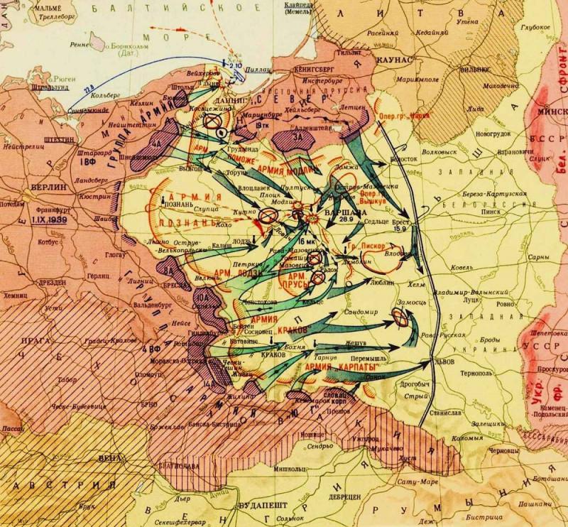 Карта немецкого наступления на Польшу в 1939 г.