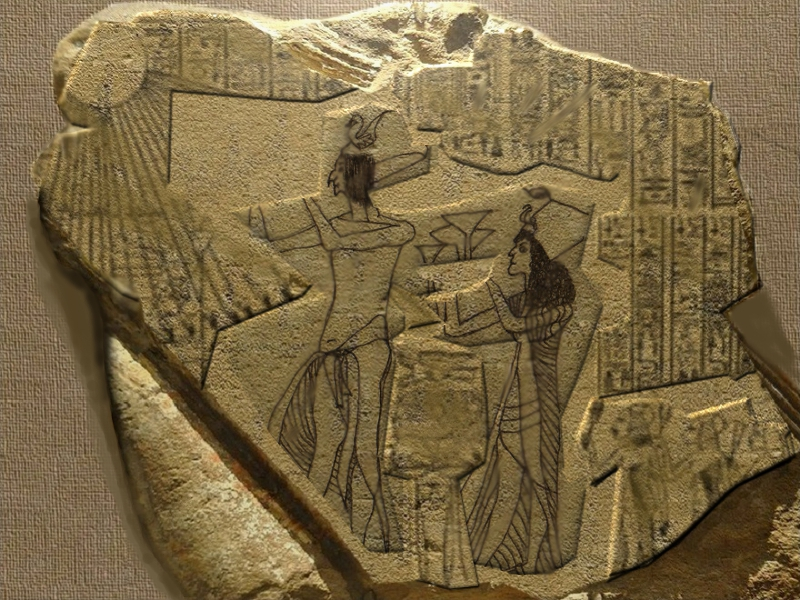 Akhenaten and Nefertiti in the procession for the festival of Aten