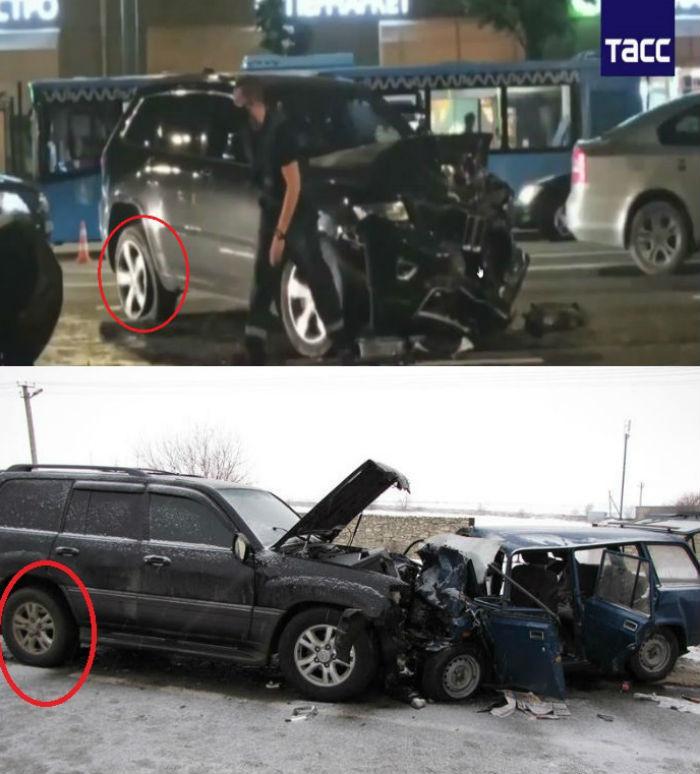 Фотоколлаж задних колёс джипов в случае аварии