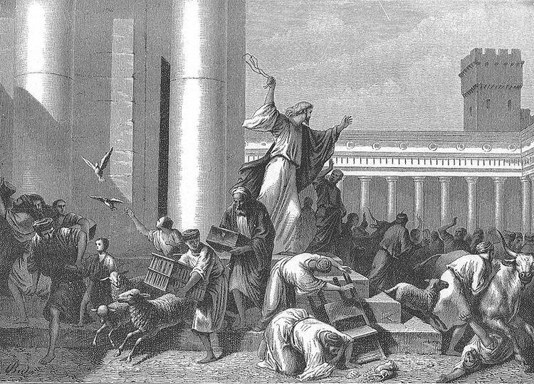 Иисус изгоняет торгующих из Храма