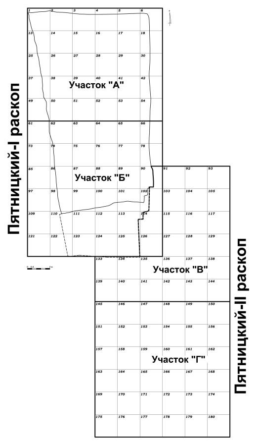 Сетка Пятницкого-II раскопа