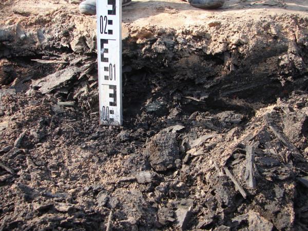 Прослойка щепы, маркирующая слой постройки ванного здания