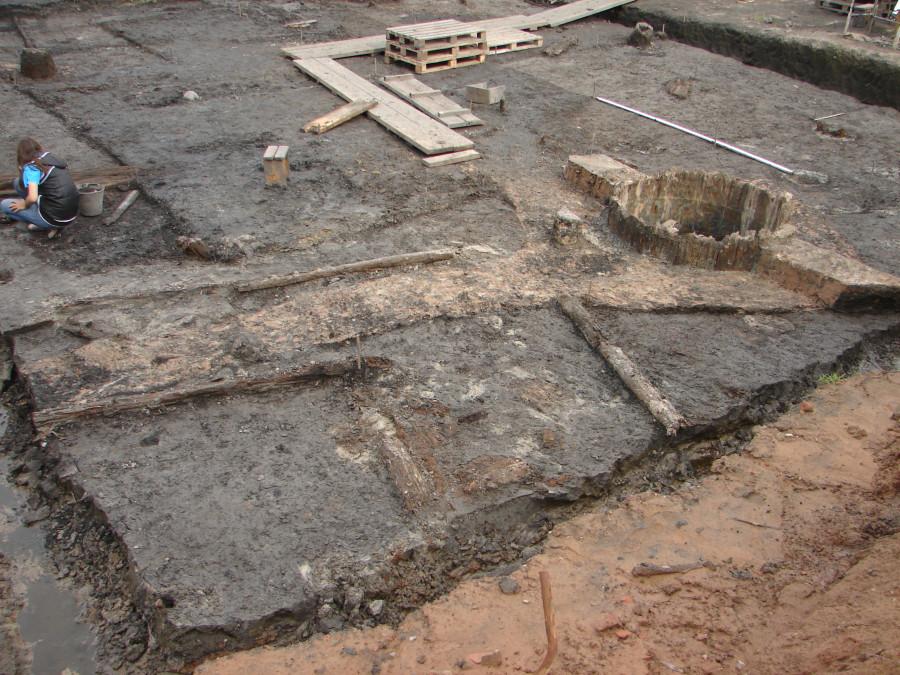 Контуры ям и остатки деревянных конструкций в северо-восточном углу 4-го участка