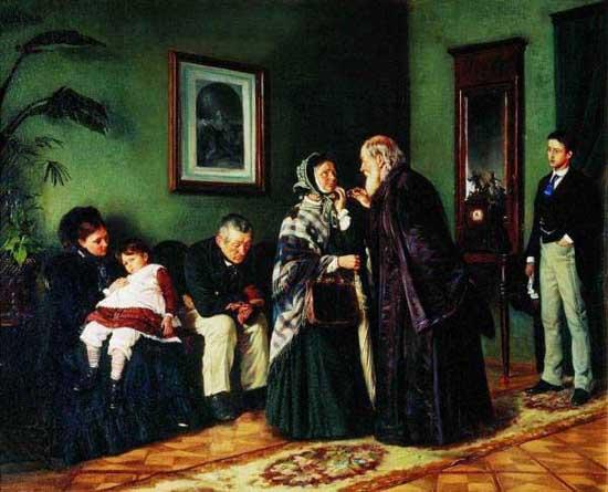 В. Маковский. В приемной у доктора. 1870