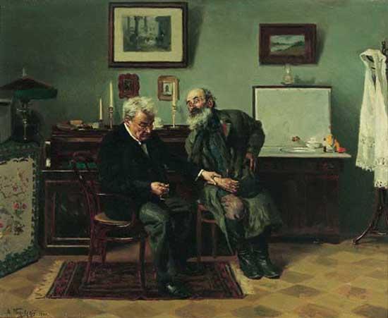 В.Маковский На пирёме у врача (1870)