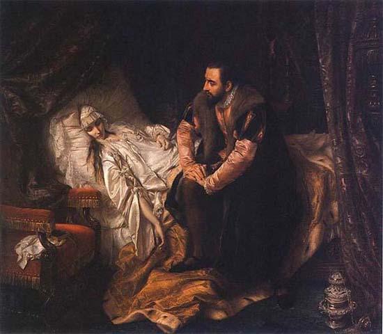 Й.Циммлер. Зигмунт Август у постели умирающей Барбары