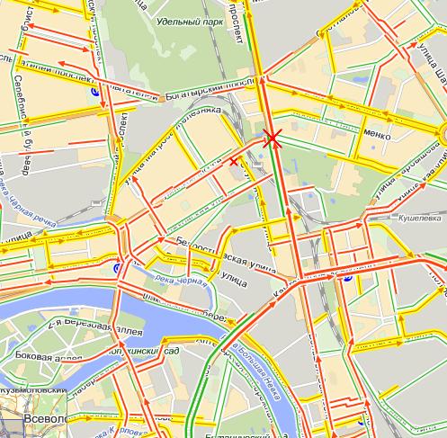 Карта Яндекса. Большим крестом обозначено место аварии трамвая. Малым - место, где нарушил водитель маршрутки.