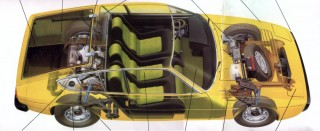 x-ray drawing showing the unique innards of this unique car