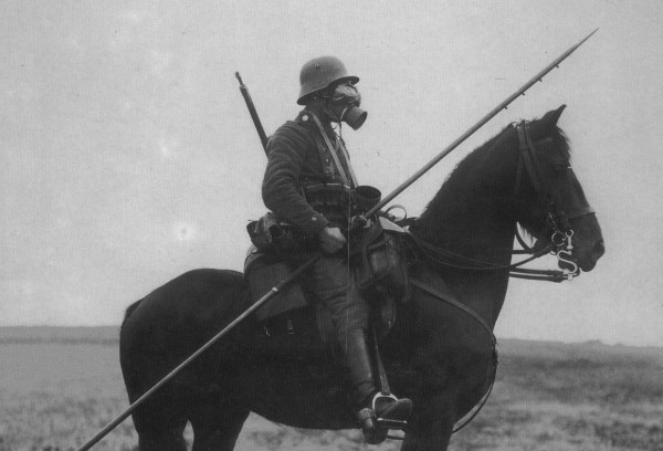 German cavalryman wearing a gas mask and carrying a long spear; 2nd August 1917