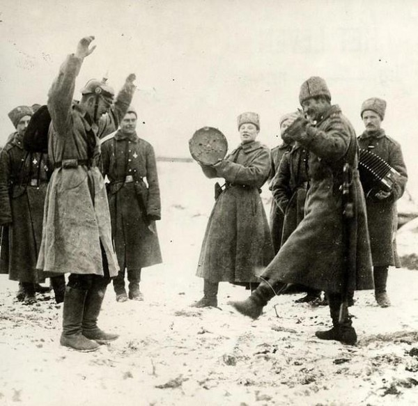 Russian soldiers teaching German prisoners of war the Cossack dance, the Eastern Front, 1915