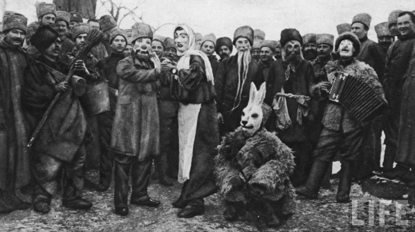 Russian soldiers in costume for a performance, 1916