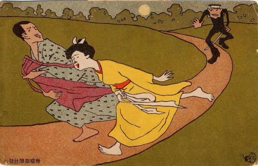 The Storm in the Park (Koen no arashi) from Ehagaki sekai Nabezo
