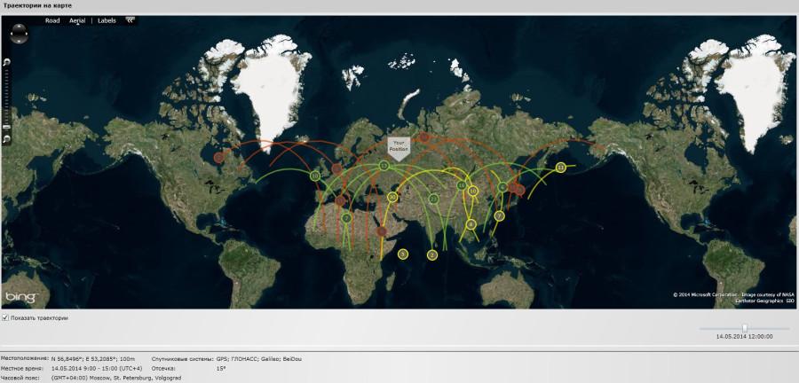 траектория на карте в 12 часов