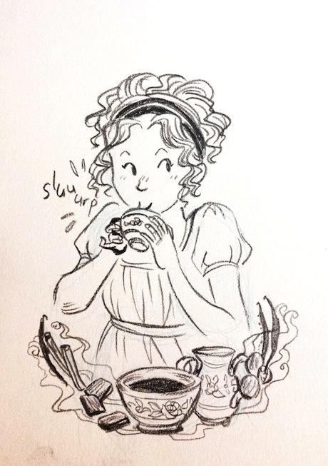 kat-drinking-hot-chocolate-sally-jane-thompson 460