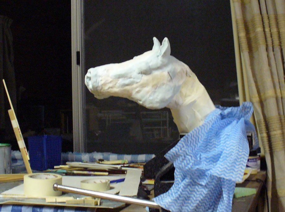 Horse head in clay, progress