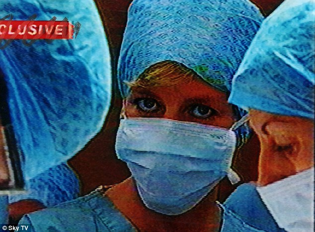 Diana visits an operating theatre at Harefield Hospital, Middlesex, in 1996