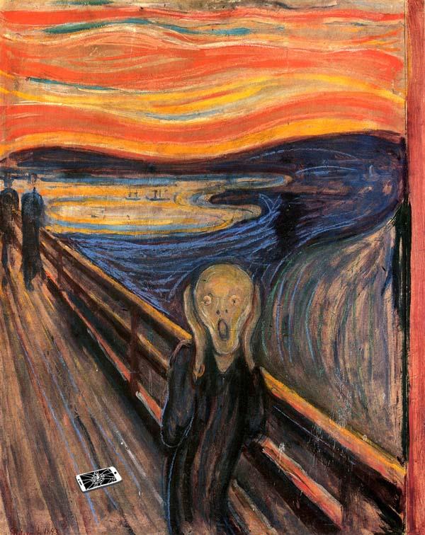 Крик из-за разбитого смартфона - The scream  -  by Edvard Munch, 1893