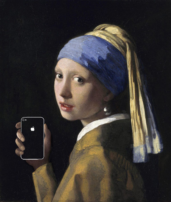 Girl with a pearl earring and an iPhone - на основе - Girl with a pearl earring- by Johannes Vermeer, 1665