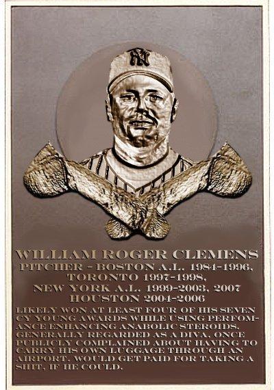 Roger Clemens's plaque