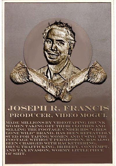 Joe Francis's plaque