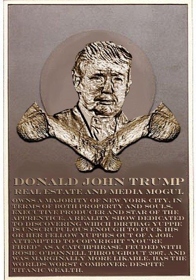 Donald Trump's plaque
