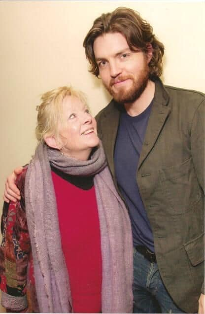 Tom Burke with his mother actress Anna Calder-Marshall.jpg