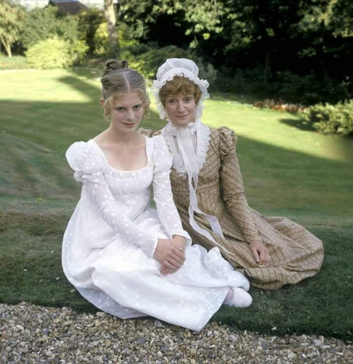 Emilia Fox with her mother actress Joanna David on the set of Pride and Prejudice.jpg