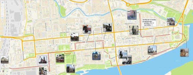 Карта для прогулки по Красноярску