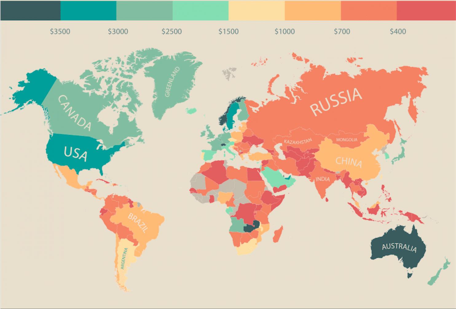 Насколько велика Россия на экономической карте мира111