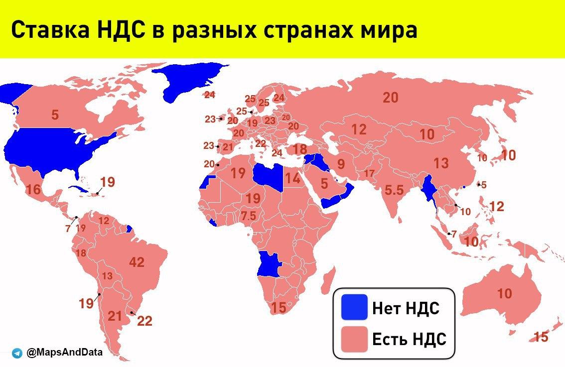 Сравнение НДС (максимальной ставки) в разных странах мира