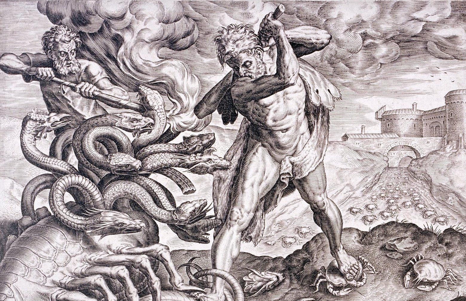 english-engraving-second-labour-heracles-slay-lernaean-hydra