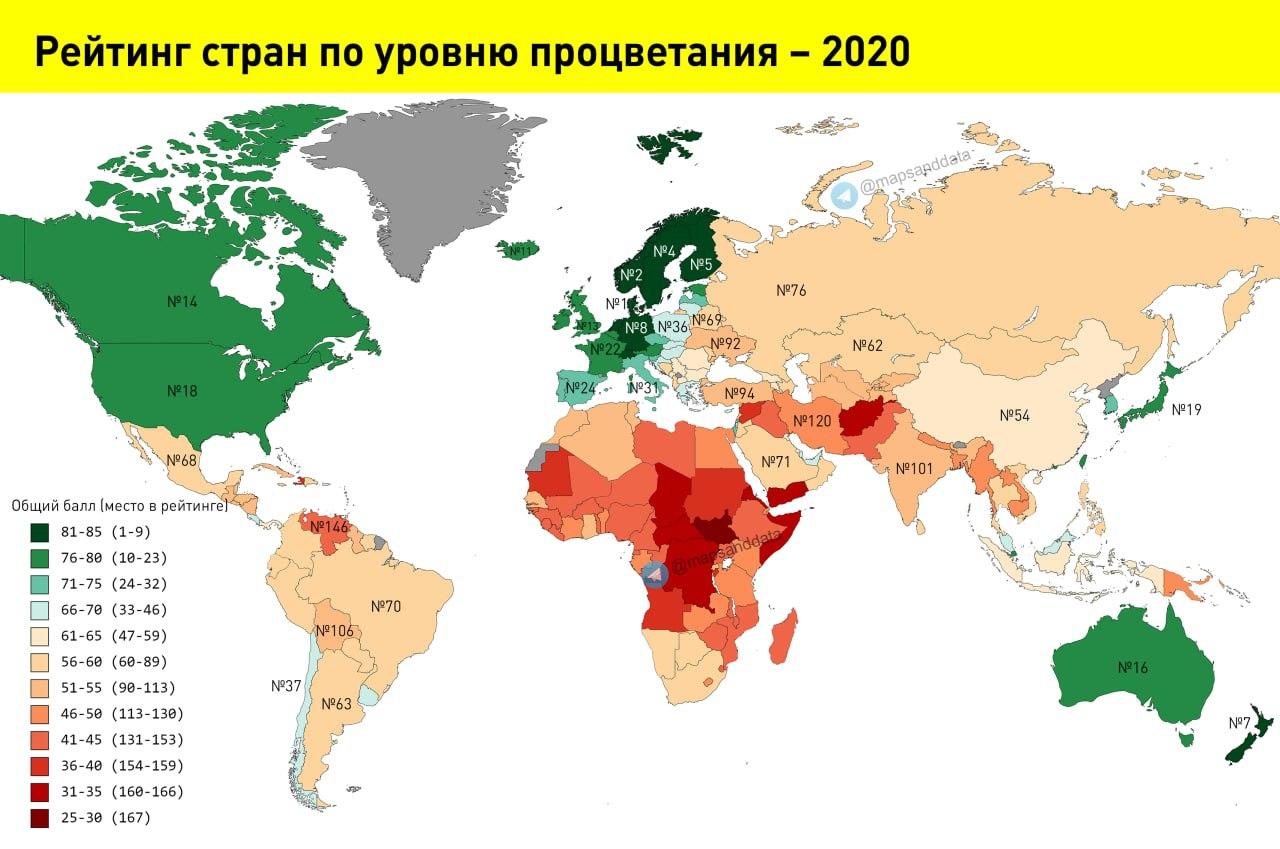 Рейтинг стран по уровню процветания – 2020
